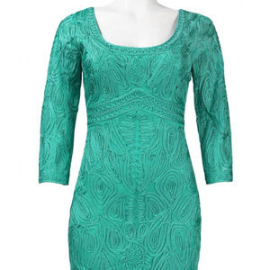 SUE WONG 3/4 Sleeve Embroidered jade green 10 #212